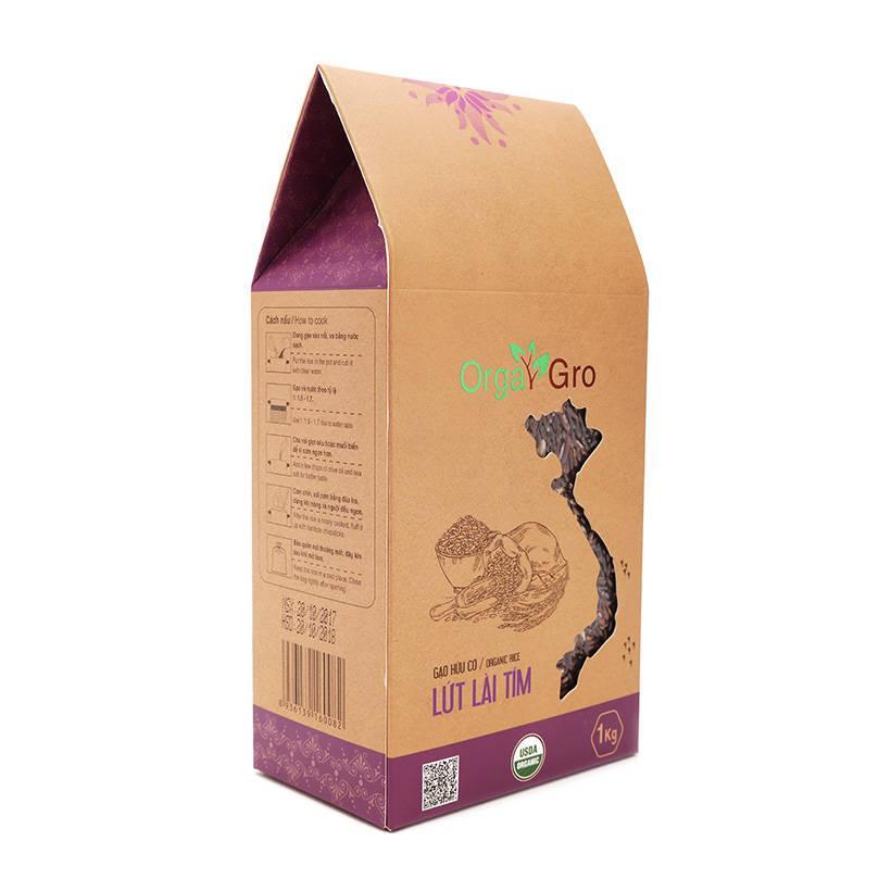 Gạo hữu cơ lứt lài tím OrgaGro túi 1kg
